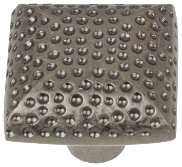 "1.25"" Hammered Square Cabinet Knob, Antique Pewter - Rustic - Cabinet And Drawer Knobs - by ..."