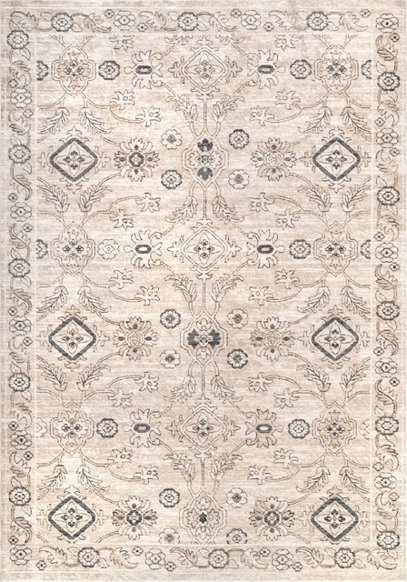Traditional Classic Floral Herati Area Rug, Beige, 5&x27;x8&x27;.