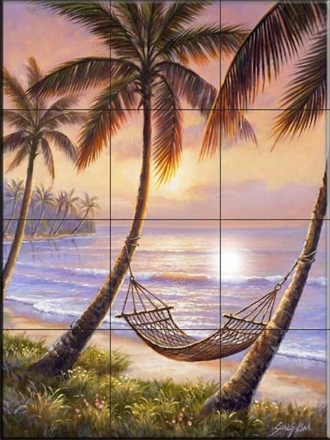Tile Mural Sunset Siesta By Sung Kim Tropical Tile