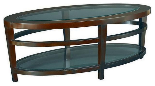 Hammary Urbana Glass Top Oval Cocktail Table
