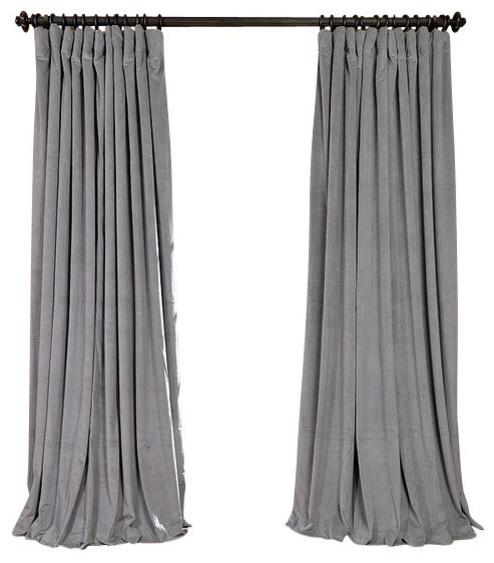 Signature Silver Gray Velvet Blackout Curtain Single Panel