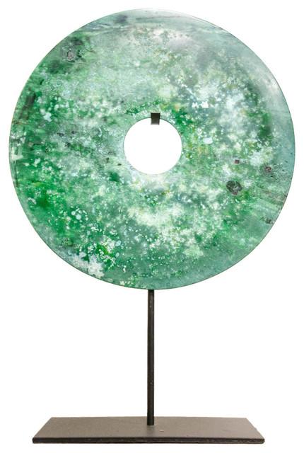 Turquoise Jade Bi-Disc Ornament, 40 Cm