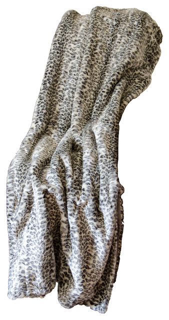 Mina Victory Fur Silver Leopard Ivory And Gray Throw Blanket.