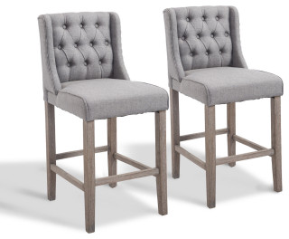 Homcom 40 Tufted Wingback Counter Height Armless Bar Stool Chair Set Of 2 Grey Transitional Bar Stools And Counter Stools By Aosom