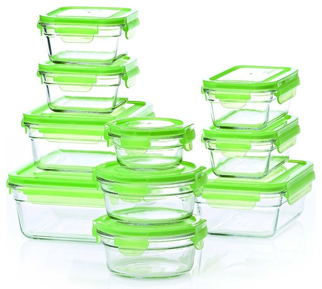 Attractive Safe Storage Containers Part - 13: Tempered Glasslock Heat Safe Storage Containers, Green Contemporary-food- Storage-containers