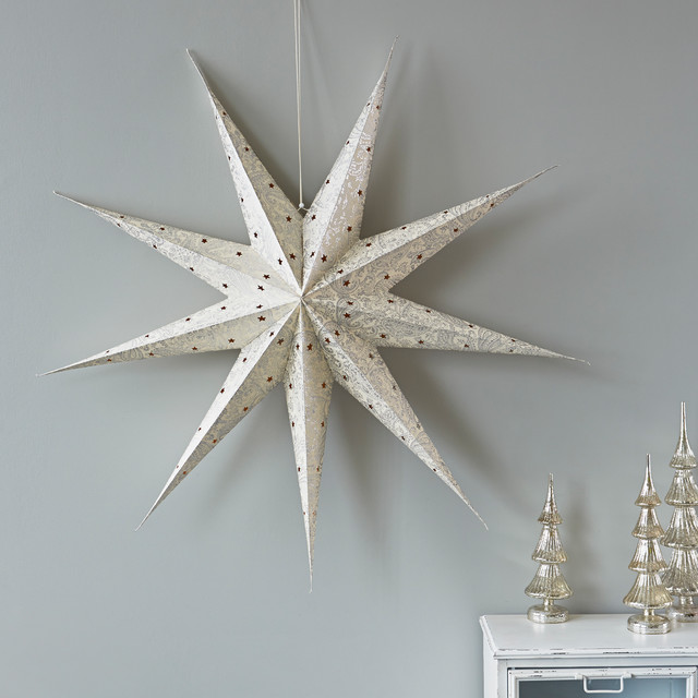 Large paper star contemporary christmas ornaments for Contemporary ornaments for the home