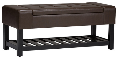 Finley Storage Ottoman Bench, Chocolate Brown