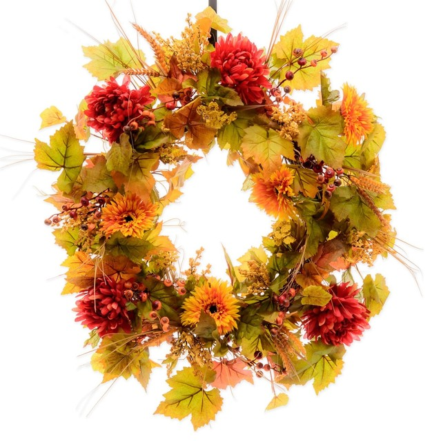 Sunflowers, Mums & Berry Fall Wreath (fw124), 30 Inch.