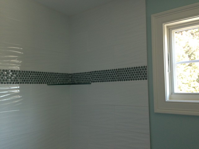White bathroom vanities ideas - White Wave Tile With Border Transitional Boston By