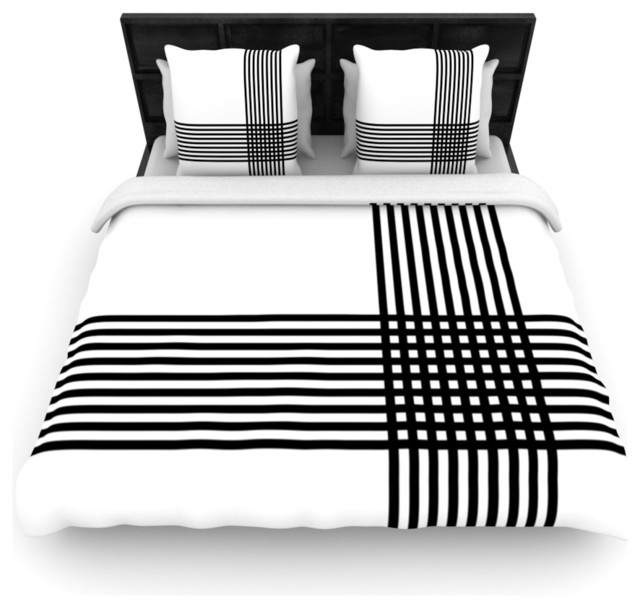 KESS InHouse Trebam Kutovi Black Teal Queen Comforter 88 X 88