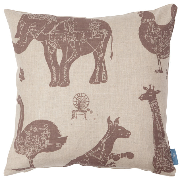"""PaperBoy Interiors """"How it Works"""" Cushion, Stone and Brown"""