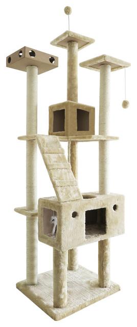 Tiger Tough Double Decker Playground, Cream Contemporary Cat Furniture