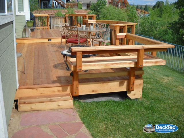 Redwood Deck With Built In Bench