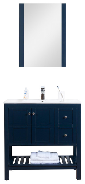"""Manhattan Freestanding Vanity Collection With Mirror, Navy, 36"""", Integrated."""