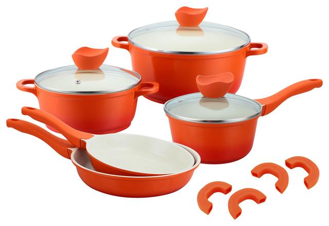 8-Piece Diecast Aluminum Cookware Set, Orange.