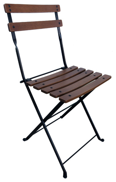 French Cafe Bistro Folding Side Chair Set of 2 Black Frame Chestnut Slats