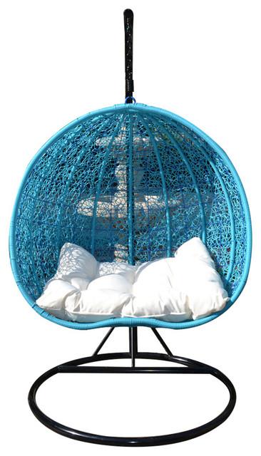 Egg Shape Wicker Rattan Swing Chair Hanging Hammock 2 Person, Black/Turquoise