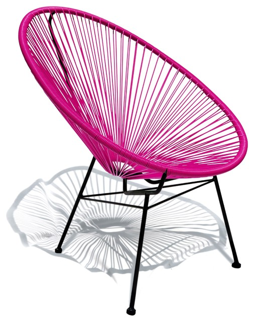 Wonderful Acapulco Indoor/Outdoor Lounge Chair, Hot Pink Weave On Black Frame