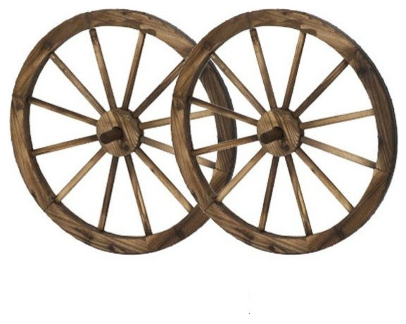 24 Wooden Wagon Wheels Steel Rimmed Wooden Wagon Wheels Set Of 2