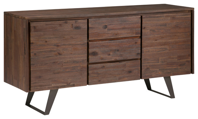 Lowry Solid Acacia Sideboard Buffet, Distressed Charcoal Brown.