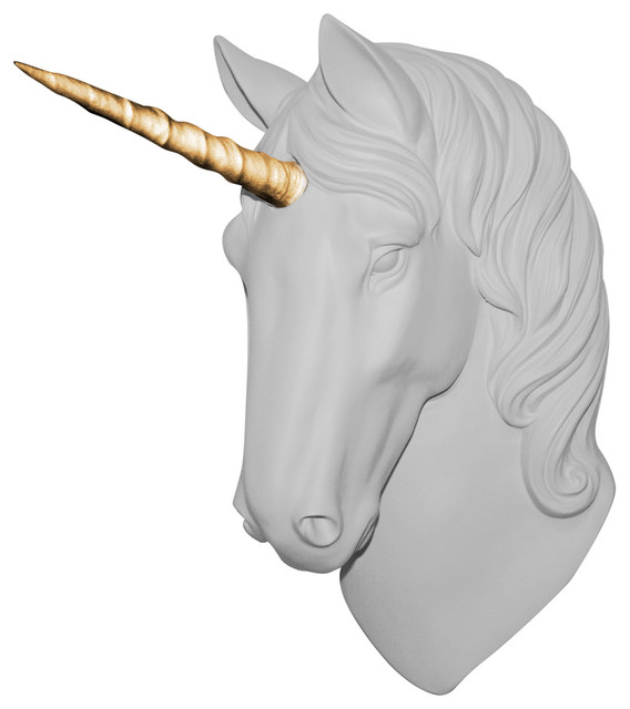 Luna Faux Unicorn Head Wall Mount Sculpture, White, Horn: Gold. -1