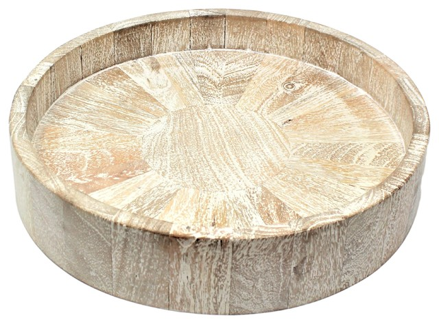 Large Round Drift Wood Serving Tray 13
