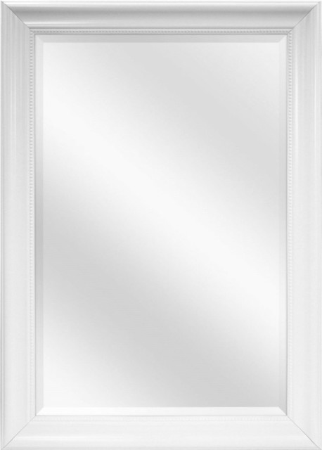 Large Rectangular Bathroom Wall Hanging Mirror With White