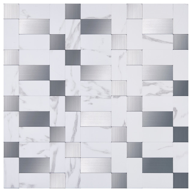 "Scatter 12""x12"" PVC/Metal Peel and Stick Mosaic Tile, Box of 10"