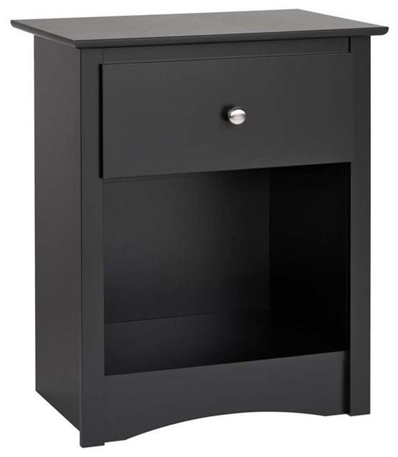 Prepac sonoma 1 drawer tall nightstand black for 30 tall black nightstand