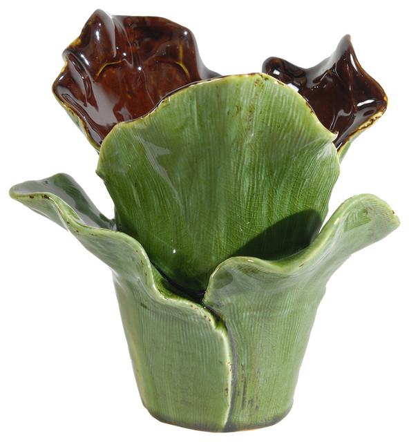 Glazed Ceramic Flower Shaped Vase Contemporary Vases By
