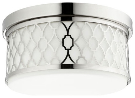3-Light Flush Mount Polished Nickel Satin Opal Glass.
