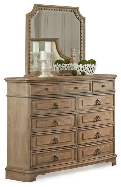 Sebastian White Wash 11 Drawer Dresser And Mirror.