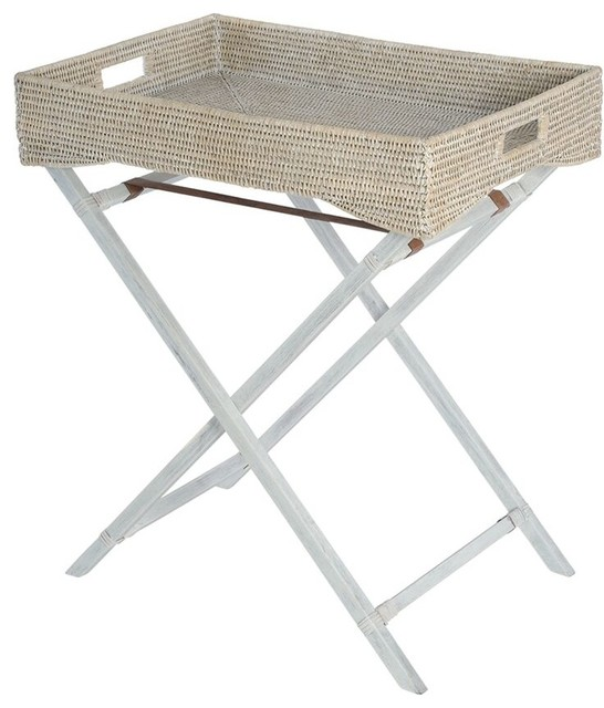 La Jolla Handwoven Rattan Butler Tray With Folding Wood Stand, White Wash  Beach Style