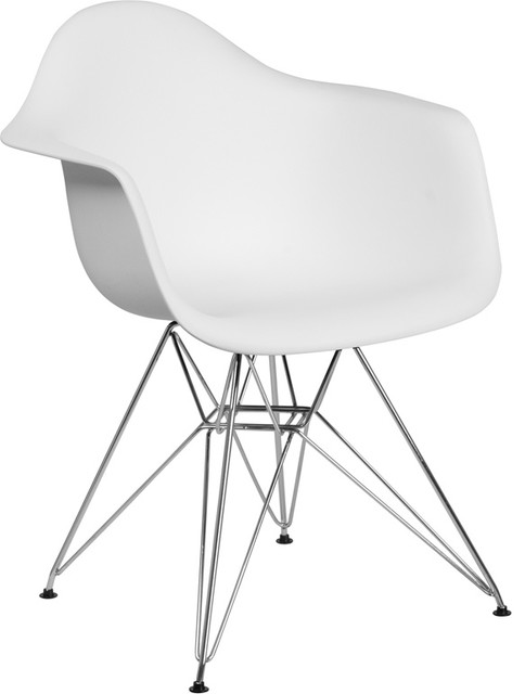 Alonza Series White Plastic Chair With Chrome Base, White.