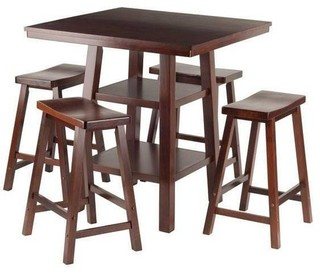 Winsome 5-Piece Set High Table 2 Shelves With 4 Saddle Seat Stools