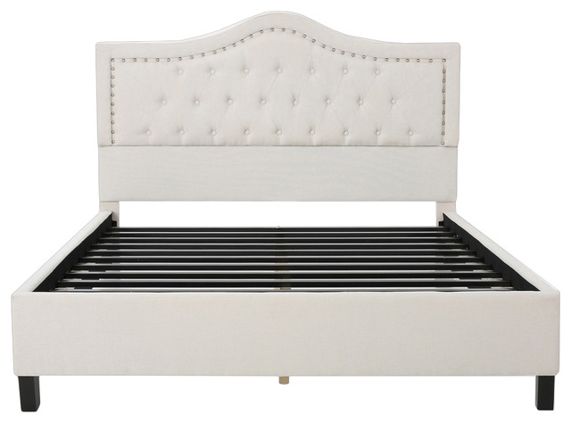 Adelais Fully Upholstered Queen Bed Set, Ivory.