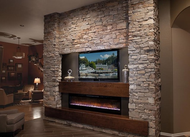 DAGR Design Custom Media Wall/Entertainment Center w Electric Fireplace - Rustic - Living Room - Phoenix - by DAGR Design Custom Home Theater