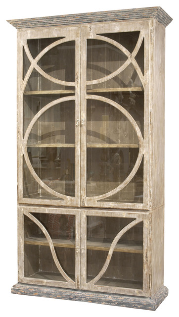 French Country Taupe Oak Reclaimed Wood Cabinet Vitrine Traditional Storage  Cabinets