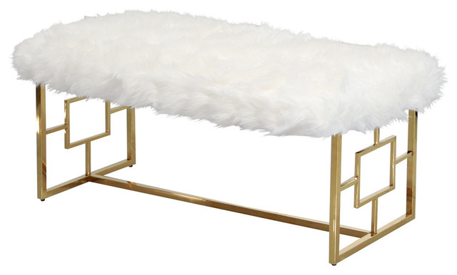 White And Gold Stainless Steel Bench Contemporary Upholstered Benches By Furniture Import Export Inc