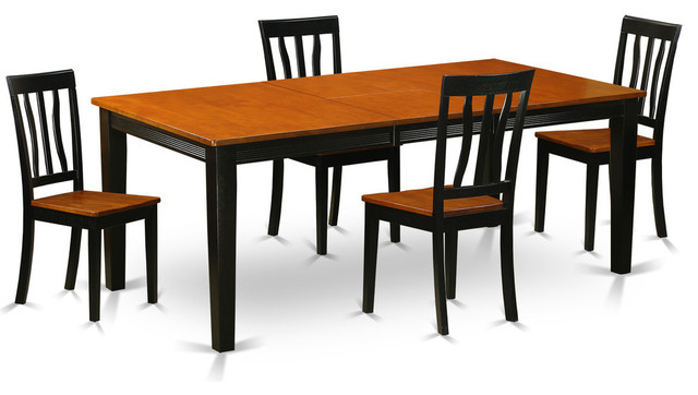 Caitlin Dining Table Set Black And Cherry 5 Pieces