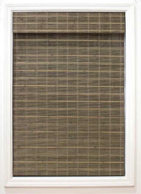"Cordless Bayshore Matchstick Bamboo Roman Shade, Brown, 31""x64"""