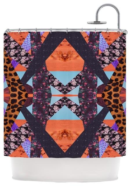 Vasare Nar Pillow Kaleidoscope Purple Orange Shower Curtain