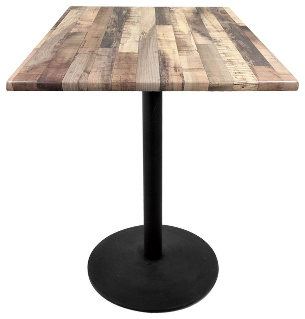 "30"" Black Table With 30""x30"" Square Indoor/outdoor Rustic Top"
