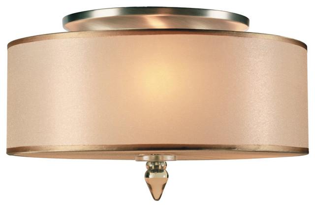 Luxo 3-Light Flush Mounts, Antique Brass.