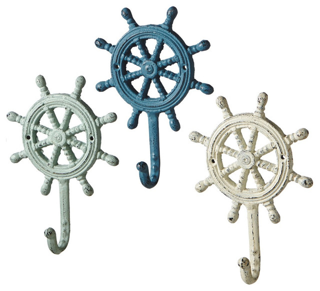 Ship&x27;s Wheel Antique Style Weathered Wall Hooks, 3 Piece Set.