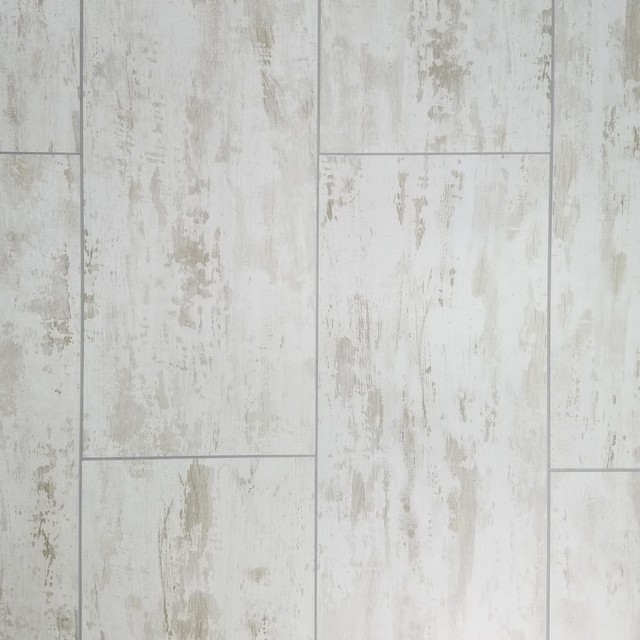"""7""""x16"""" Brichwood White Wood Look Glass Wall Tile, Set Of 12."""
