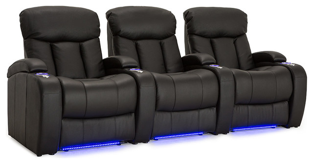Seatcraft Grenada Home Theater Seating Black Leather