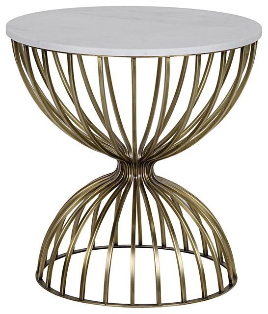 Noir, Hourglass Side Table, Antique Brass