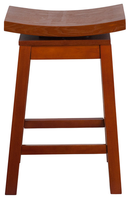 Flash Furniture 26 High Saddle Seat Light Cherry Wood