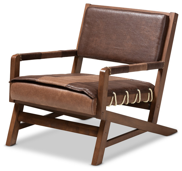 Rovelyn Rustic Brown Faux Leather Effect Walnut Finished Wood Lounge Chair